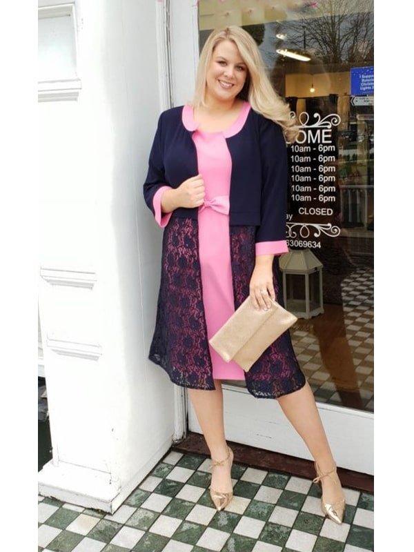 Pink Dress With Navy Coat