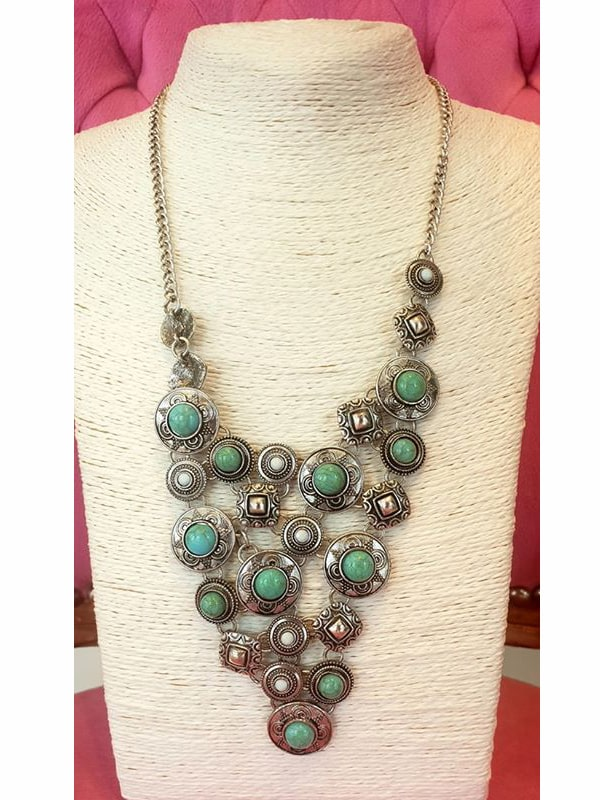 Turquoise And Silver Neckpiece