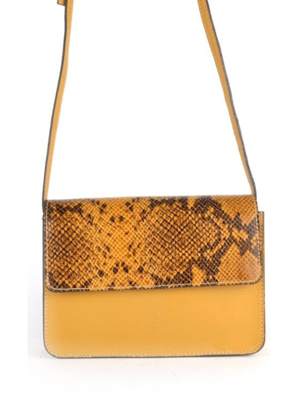 Mustard Gucci Style Leather Shoulder Bag