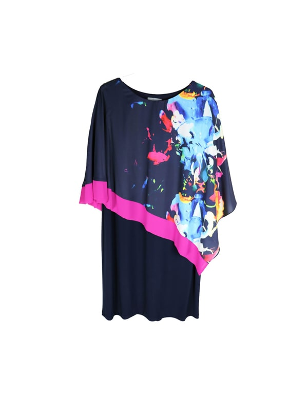 Navy Abstract Print Cape Dress