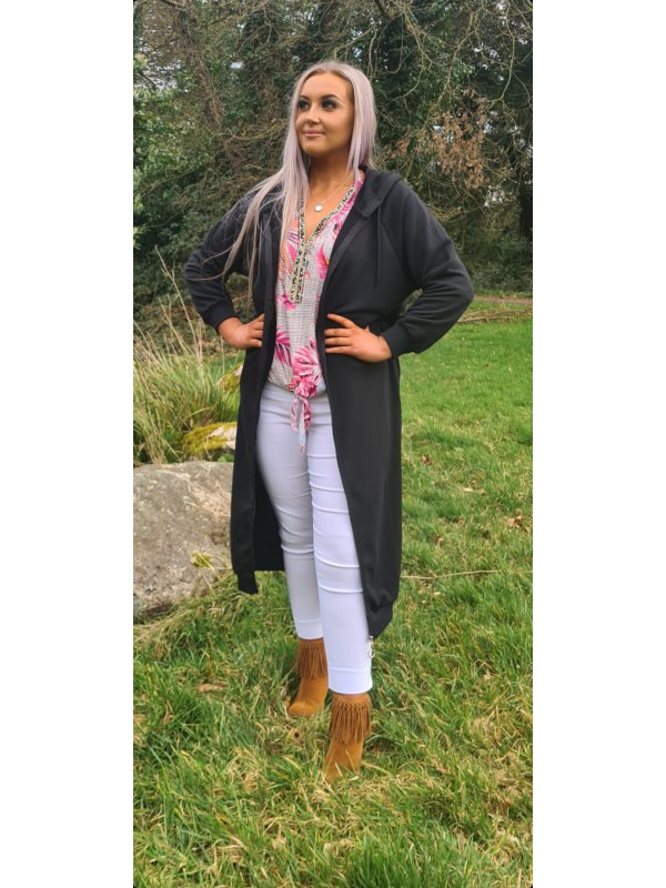 Long Black Cardigan with hood sizes 10-18