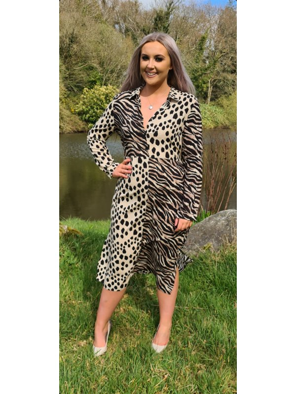 LEOPARD MAXI DRESS WITH COLLAR